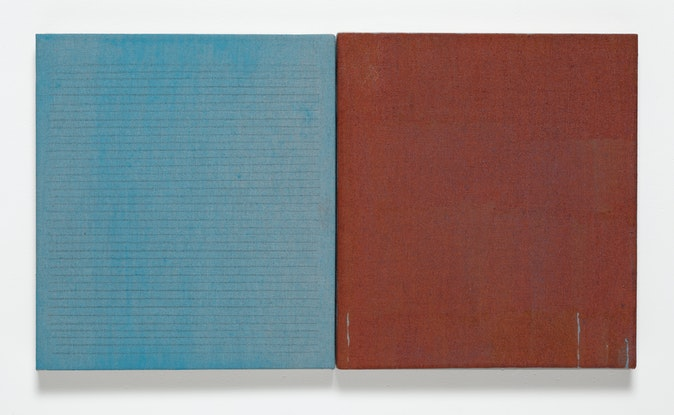 Artwork – Diptych with blue and rust, 2012