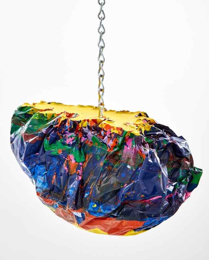 Artwork – Yellow boulder chained, 2020