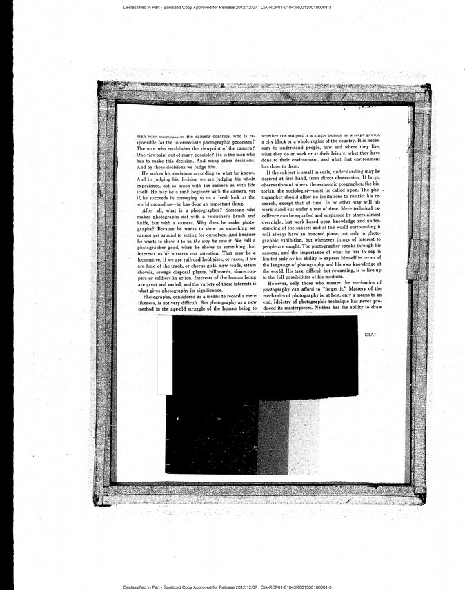 Artwork – Evan Hume, Commentary on the Art of Photography (CIA), 2021