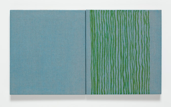 Artwork – Diptych with green lines, 2012